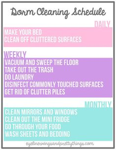 The Ultimate Guide To Cleaning Your Dorm Room - Dorm Cleaning Printable // eyeliner wings and pretty things This easy guide and free dorm cleaning printable will make cleaning your room incredibly quick, easy and organized! College Packing, College Essentials, College Survival, College Planner, Weekly Planner, Survival Tips, College Life Hacks, Dorm Life, College Dorm Rooms