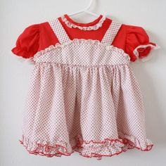 Vintage red and white baby dress, 1970's.