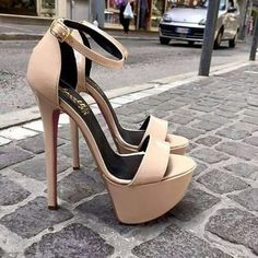 Trendy Women's High Heels : All by myself . Whose feet naturally sit at this angle? That throws all your joints out of balance. Prom Heels, Sexy Heels, Cute Heels, Stiletto Heels, Heeled Boots, Shoe Boots, Shoes Heels, Nude Shoes, Talons Sexy