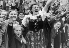 The people of Karlovy Vary (Karlsbad in German, Carlsbad in English) in Czech Sudetenland rejoice at the arrival of Adolf Hitler, 4th October 1938. (Photo by FPG/Hulton Archive/Getty Images)