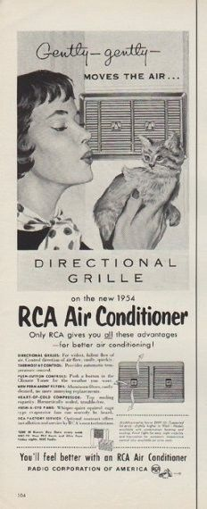 "Description: 1954 RCA AIR CONDITIONER vintage print advertisement ""Moves The Air"" -- Gently -- gently -- Moves The Air ... RCA Air Conditioner ... Radio Corporation of America -- Size: The dimensions of the half-page advertisement are approximately 5.5 inches x 14 inches (14 cm x 36 cm). Condition: This original vintage half-page advertisement is in Very Good Condition unless otherwise noted."