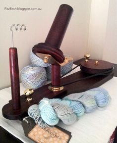 Handmade wooden wool winder.  Just beautiful. Free Plans