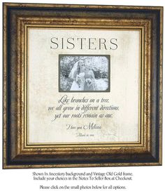 Personalized Picture Frame Sign for Sister, Wall Home Decor by PhotoFrameOriginals