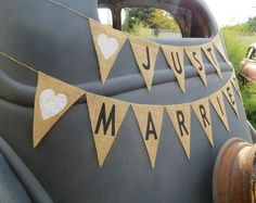Just Married Burlap Banner Wedding Garland / Burlap Wedding Photography Prop / Wedding Sign. $36.00, via Etsy.