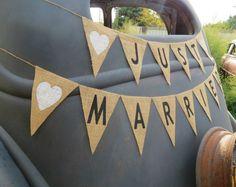 Just Married Burlap Banner Wedding Garland / Burlap Wedding Photography Prop / Wedding Sign. $36.00, via Etsy.