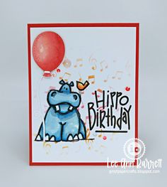 Impression Obsession Cards, Cute Hippo, Small Balloons, Cute Wild Animals, Copic Sketch Markers, Red Balloon, Simon Says Stamp, Distress Ink, Paper Crafts