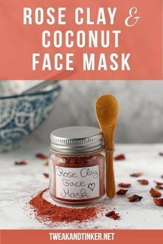 Rose Clay & Coconut Milk Face Mask DIY - Tweak and Tinker Beauty-DIY-Face This 2 ingredient face mas Avocado Face Mask, Charcoal Face Mask, Clay Face Mask, Rose Clay, Clay Faces, Home Remedies For Hair, Hair Remedies, Homemade Face Masks, Diy Skin Care