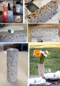 6 DIY vases reusing everyday items. #2 Pringles can.
