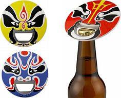 Destapador de botellas con figura de mascara Kabuki.