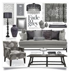 """Shades of Grey Living Room Decor"" by hmb213 ❤ liked on Polyvore featuring interior, interiors, interior design, home, home decor, interior decorating, Privilege, Iconic Pineapple, H&M and Ginger Brown"