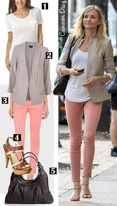 Late winter/ early spring outfit. Khaki blazer, white shirt, peach pants