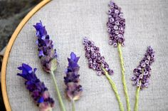 This said embroidered lilacs, but it looks like a different flower to me (lavender maybe?). Either way, I like it - it's pretty!