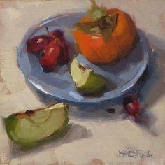 """Daily Paintworks - """"Blue Plate Demo"""" - Original Fine Art for Sale - © Karen Werner"""
