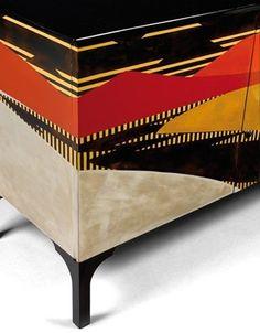 Art Déco - Commode - Style Anglais - Laque noire et Polychrome - Pièce Unique - Jean Dunand et Jean Goulden - 1921