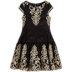 Cesare Paciotti Girls Black & Gold Embroidered Dress at Childrensalon.com