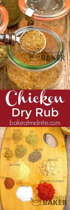 Give all your chicken dishes excellent flavor with this dry rub. - Best All Recipes Homemade Spices, Homemade Seasonings, Homemade Butter, Seasoning Mixes, Chicken Seasoning, Seasoning Recipe, Chili Seasoning, Chicken Spices, Bbq Dry Rub