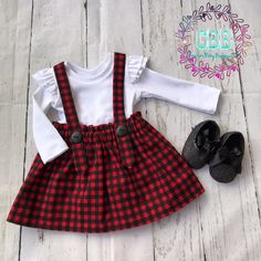Girl set skirt with detachable straps and ruffled shirt, girl Christmas outfit , Christmas outfits set sizes 12-18 to 4 t by CreationsBabyB on Etsy https://www.etsy.com/listing/559170758/girl-set-skirt-with-detachable-straps