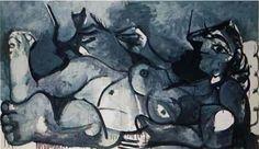"""Picasso """" Nu couché au chat"""""""