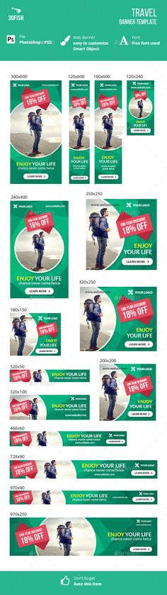 Travel Web Banner Template PSD #design #ads #promotion Download: http://graphicriver.net/item/travel-banner/13546780?ref=ksioks