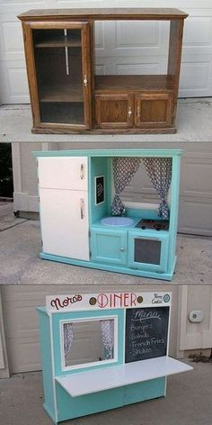 Creative and Easy DIY Furniture Hacks Turn an Old Cabinet into a Kid's Play Kitchen: Make a fantastic play kitchen out of an old cabinet for your kids with the instructions. The post Creative and Easy DIY Furniture Hacks appeared first on Best Shared. Diy Furniture Hacks, Repurposed Furniture, Furniture Stores, Furniture Plans, Refurbished Furniture, Kitchen Furniture, Wood Furniture, Vintage Furniture, Diy Childrens Furniture