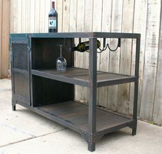 Scrap metal and reclaimed industrial wood table, wine/liquor cabinet, vintage mini bar, urban kitchen cart