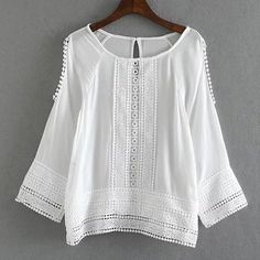 Sweet Style Long Sleeve Scoop Collar Hollow Out Laciness White Blouse For Women White Crochet Top, Crochet Lace, Crochet Blouse, Chiffon Tops, Lace Chiffon, Shirt Blouses, Plaid Shirts, White Lace Blouse, Dressy Tops