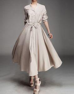 full+size+women's+clothing | Women Linen Fluid Ramie Dress
