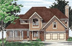 House Plan 94947   Colonial European Plan with 2308 Sq. Ft., 4 Bedrooms, 3 Bathrooms, 2 Car Garage