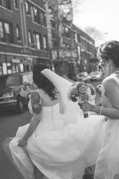 City bride enjoying her urban wedding day. www.greenseedphotography.com