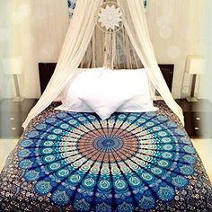 Blue Mandala Tapestry / Mandala Wall Hanging / Mandala Bedspread