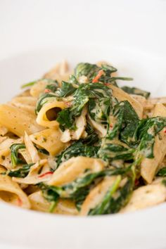 Pasta with stewed spinach.. and cream!