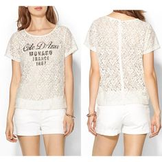 """NWOT Lace graphic tee Cream. Short sleeve styling. Rounded neckline. All over floral lace design. Button up back. 57% cotton, 43% nylon. Approx measurements: 32.5"""" length, 18.5"""" chest. 🚫no trades or paypal🚫 Piperlime Tops"""