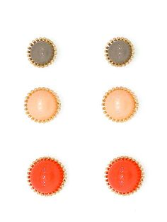 Coral Mixed Earrings Set of three.  Free Shipping!  #FreeShipping #Earrings #Sets #Gift