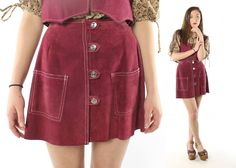 $76, Vintage 70s Suede Mini Skirt Vest Maroon Leather Sleeveless Top A Line High Waisted 1970s Small S Hippie Dress Boho Festival by ScarletFury on Etsy