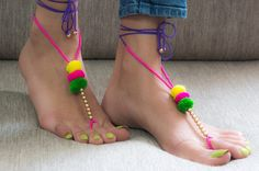 Dance around with these feet accessories, and spread your cheer. These graceful, and easy to wear crochet barefoot sandals is a perfect thing to have on a sunny-Sunday at the beach so grab one today! Textile Jewelry, Fabric Jewelry, Crochet Jewellery, Fabric Necklace, Handmade Jewellery, Handcrafted Jewelry, Gota Patti Jewellery, Crochet Barefoot Sandals, Navratri Special