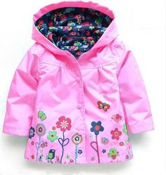 Children's Rain Coat with Flowers or Dinosaurs