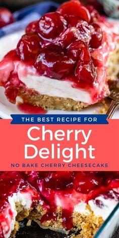13 Desserts, Cherry Desserts, Cherry Recipes, Delicious Desserts, Recipes With Cherries, Cherry Pie Filling Desserts, Cherry Pie Bars, Cherry Pies, Icebox Desserts