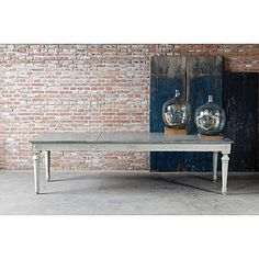 "The The Fancy Zinc Table 111"" has a grey painted base and a zinc top. It is large and stunning. This table makes a statement at your holiday dinners. Email info@milieuhomegoods.com to purchase or request additional info."