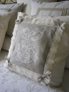 Lacomtesselepointdecroix, cross stitch initial with lace and ribbon trim