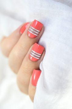 Marine Loves Polish: Coral Negative Space [ft. Dr Pierre Ricaud Gourmandise de Pastels] - coral negative space nail art with striping tape
