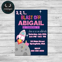 Outer Space Party Invitation Digital File by ERRdesigns on Etsy