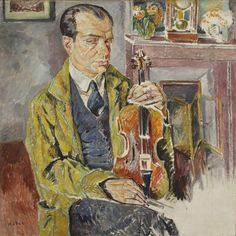 """Portret skrzypka Bronisława Hubermana"""", 1924-1927 by Mela Muter (Polish/French 1876-1967).....Bronisław Huberman (1882 – 1947) was a Jewish Polish violinist known for his individualistic and personal interpretations, expressiveness, and flexibility. He founded the Israel Philharmonic Orchestra (then known as the Palestine Philharmonic) and thus provided refuge from the Third Reich for nearly 1,000 European Jews...."""