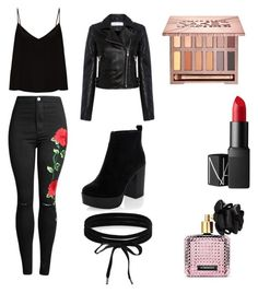 """Gothic Valentine's Day look"" by chanelno7x on Polyvore featuring Raey, New Look, IRO, Urban Decay, NARS Cosmetics, Boohoo, Victoria's Secret, makeup, grunge and valentinesday"