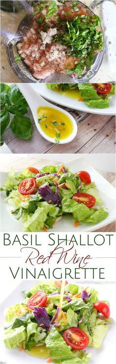 A simple red wine vinaigrette with the added flavors of shallot, basil, mustard, and a touch of honey. 1000x better than store-bought dressings!