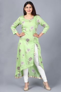 "A strong woman understands that the gifts such as logic, decisiveness, and strength. use your strength wearing this ""Pista Green Floral Asymmetrical Side Slit Kurti with Churidaar"" added to Rang Bahaar Collection – SkillOfKing. Salwar Designs, Printed Kurti Designs, Simple Kurti Designs, Kurta Designs Women, Kurti Designs Party Wear, Latest Kurti Designs, Plain Kurti Designs, Kurti Sleeves Design, Kurta Neck Design"