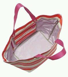 Fossil KeyPer East West Pink Stripe Ladies Tote Bag ZB5758678 NWT