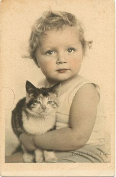 vintage photo-postcard signed by lotte herrlich - calico cat