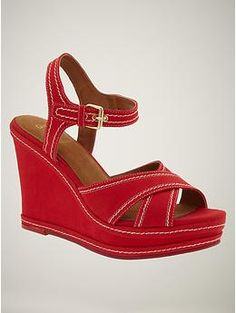 Contrast stitch wedge sandals from Gap