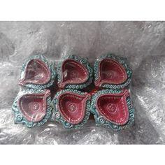 beautiful hand worked 6 diya set  - Online Shopping for Diyas and Lights by Rinu Rakhi - Online Shopping for Diyas and Lights by Rinu Rakhi - Online Shopping for Diyas and Lights by Rinu Rakhi