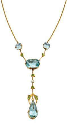 15CT GOLD, AQUAMARINE, DEMANTOID GARNET AND PEARL NECKLACE, DUGGIN, SHAPPERE & CO., MELBOURNE, EARLY 20TH CENTURY